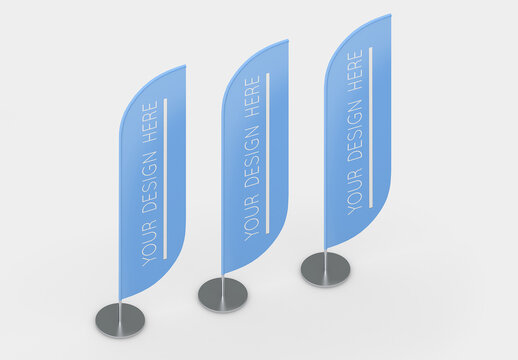 3 Isometric Advertising Flags Mockup with Editable Background