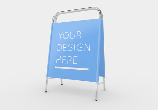 Advertising A-Stand with Steel Frame and Fabric Mockup with Editable Background