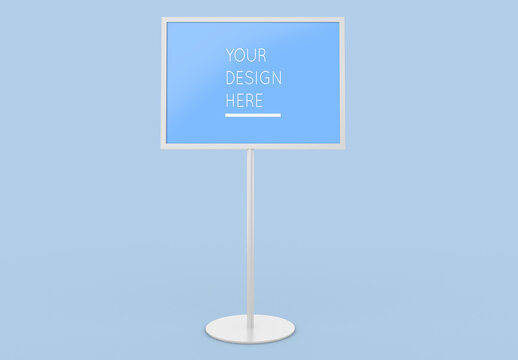 Isometric Freestanding Horizontal Advertising Stand Board Mockup with Editable Background