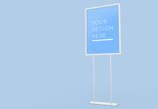 Freestanding Vertical Advertising Stand Board Mockup with Editable Background