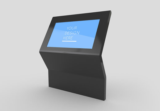 Interactive Shopping Mall Kiosk Screen Mockup with Editable Background
