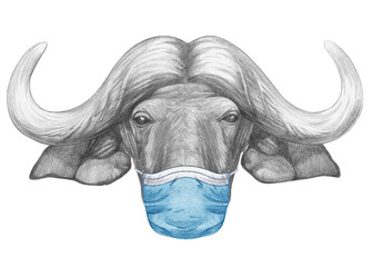 Portrait of Buffalo with a face mask. Hand-drawn illustration.