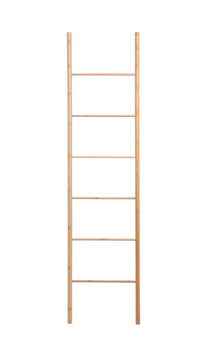 Modern wooden ladder isolated on white. Construction tool