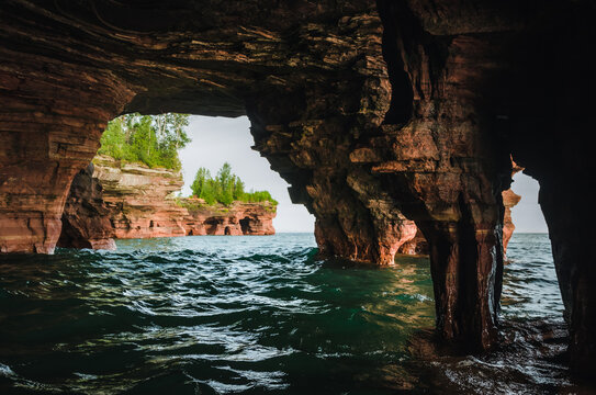 Sea cave at Devils Island at Apostle Islands, Wisconsin