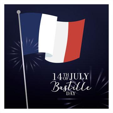 bastille day celebration card with france flag and fireworks