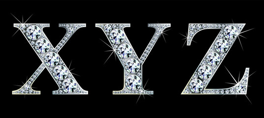 Diamond alphabet letters. Stunning beautiful X ,Y, Z jewelry set in gems and silver. Vector eps10 illustration.