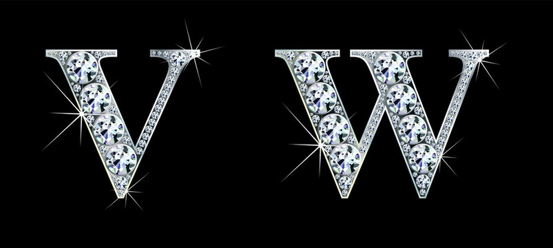 Diamond alphabet letters. Stunning beautiful V, W jewelry set in gems and silver. Vector eps10 illustration.