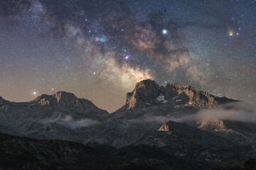 Landscape from the mountains of the north of Spain with the night sky