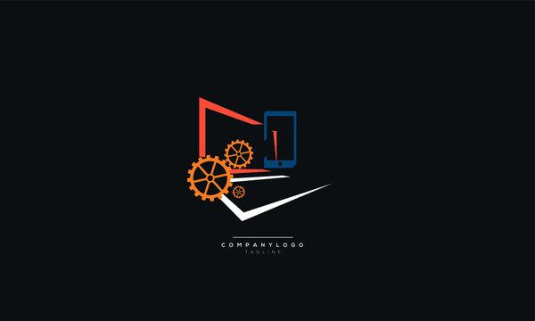 Computer, laptop and mobile repair business logo