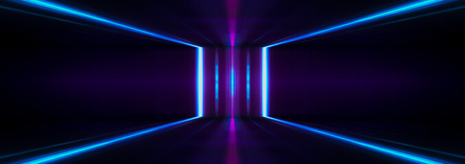 Fotomurales - Ultraviolet futuristic abstract light. light laser line. Violet and pink gradient. Modern background, neon light. Empty stage, spotlights, neon. Reflection on the water, symmetry.