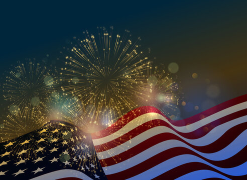 United States flag Fireworks background for USA Independence Day.