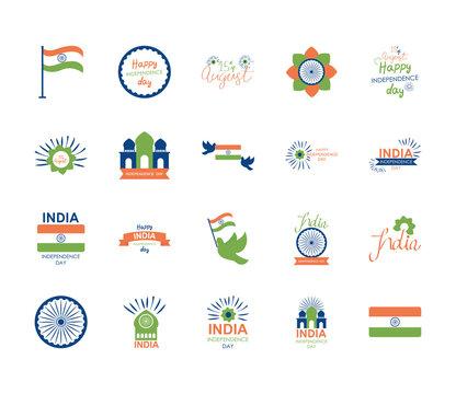 ashoka chakra symbol and india independence day icon set, flat style