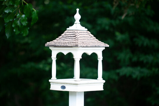 Mini gazebo, bird house with trees in background