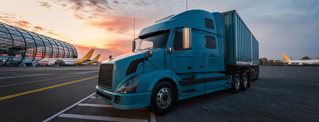 Wall Mural - The truck is in the airport. airplan, truck.3d render and illustration.