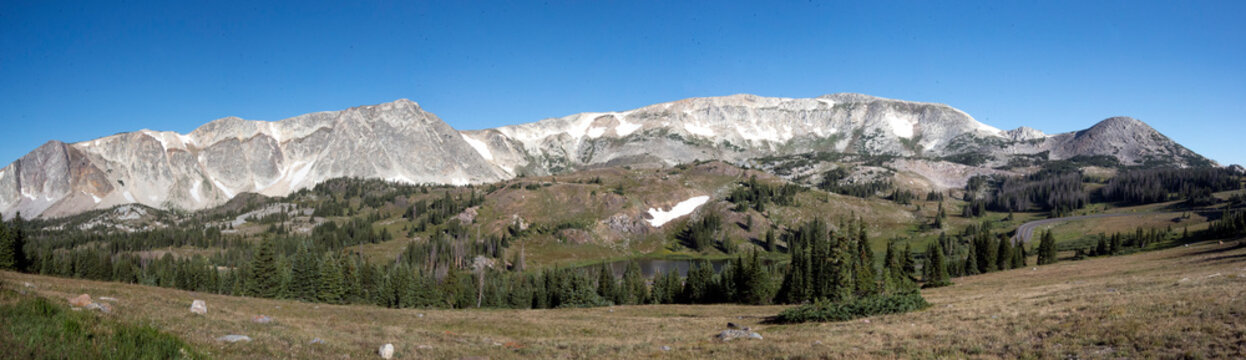 panoramic view of the snowy range mountains in Medicine Bow Wyoming