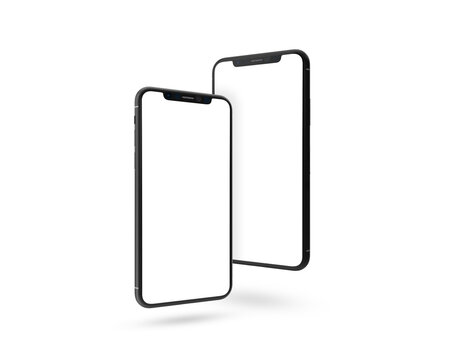 Bangkok, Thailand - Sep 20, 2020: Smartphone frameless mockup. 3d render of Brand new Iphone 11 Pro Max in silver color - template with blank screen for application presentation.