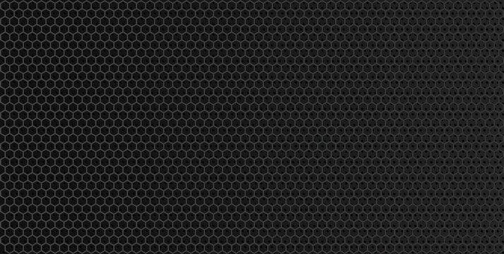 Black metal texture steel background.Black hexagon grid background.