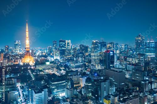 Wall mural 都市風景 東京 夜景