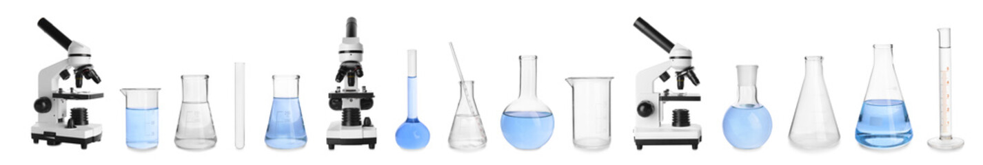 Set of laboratory glassware and microscopes on white background