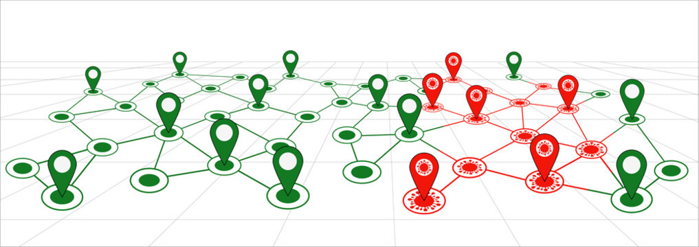 Contact tracing location route map for coronavirus covid19 government GPS tracking icon