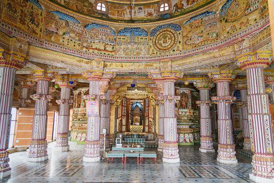 Interior of Jain Bhandasar Temple or Laxmi Nath Temple in Bikaner. India