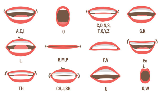 Mouth animation set. Lip sync, speaking mouth of cartoon character pronouncing sounds. Flat vector illustration for speaking articulation, English language studying concept