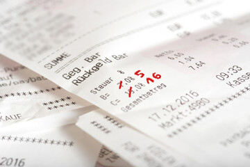 Ein Kaufbeleg und Senkung der Mehrwertsteuer