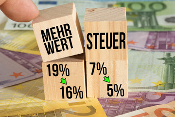 Photo Blinds Asia Country Euro Geldscheine und Senkung der Mehrwertsteuer