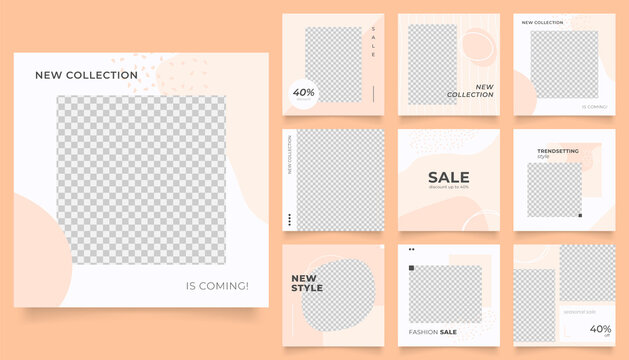 social media template banner fashion sale promotion. fully editable instagram and facebook square post frame puzzle trendy sale poster. brown color vector background