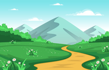 Poster Turquoise Summer Mountain Green Nature Field Land Sky Landscape Illustration