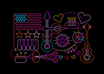 Photo Blinds Abstract Art Neon colors isolated on a black background USA Independence Day vector illustration. Celebration of Fourth of July, July 4th.