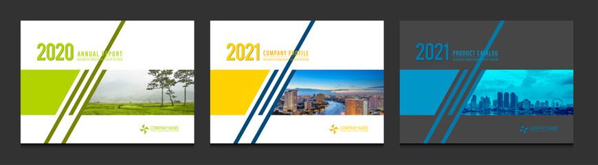 Obraz Cover design for annual report business catalog company profile brochure magazine flyer booklet poster banner. A4 landscape template design element cover vector. - fototapety do salonu