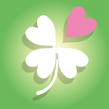 一枚離れていく四つ葉のクローバーのイラスト 失恋失敗破綻のイメージ St. Patrick's Day
