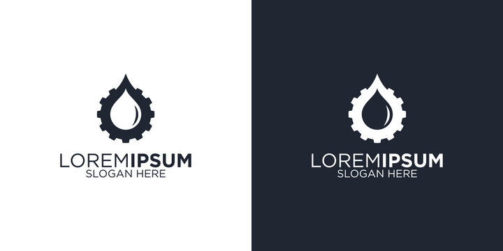 Oil mining logo design template