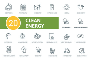 Clean Energy icon set. Collection contain power supply, recycle, solar energy, nature protection and over icons. Clean Energy elements set.