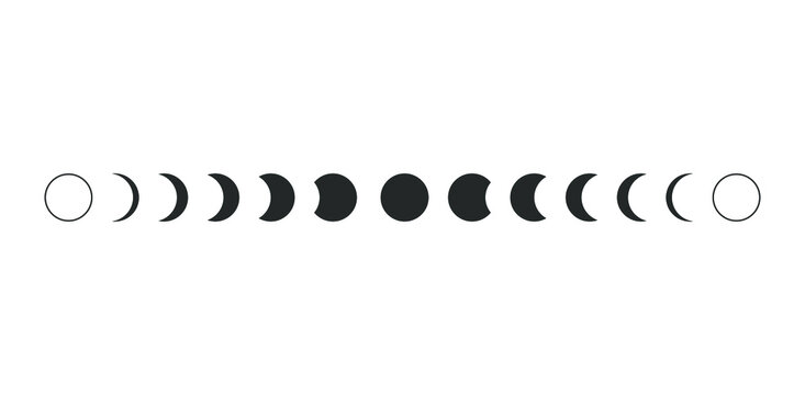 Moon phases astronomy icon silhouette symbol set. Full moon and crescent sign logo. Vector illustration. Isolated on white background.