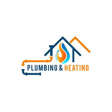 Plumbing logo designs vector pipe instaltation and water symbol