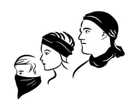 Man, young woman, and a boy wearing a bandana in different ways