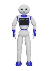 """niedlicher 3d Roboter, mit einem Laptop auf dem steht"""" Kann ich Ihnen helfen?"""""""