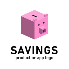Piggy bank product or app logo, savings conceptual sign