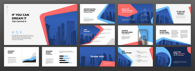 Business powerpoint presentation templates set. Use for modern keynote presentation background, brochure design, website slider, landing page, annual report, company profile.