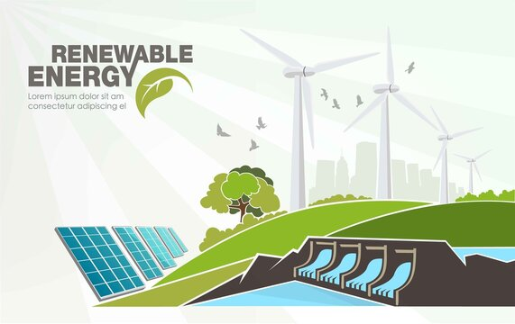 evolution of renewable energy concept of greening of the world. Vector illustration
