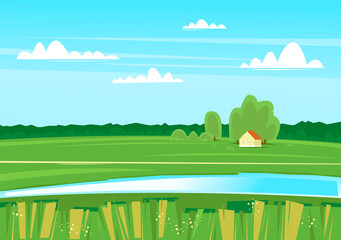 Poster Turquoise Rural landscape with a river, lake, nature. Flat design vector illustration.