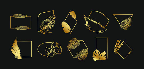 Golden abstract frames with leaves set. Square, rectangular, oval borders with tropical leaves on black background. Vector illustrations for jewelry label design, luxury decoration concept