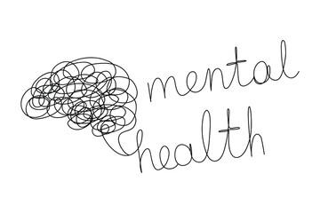 Mental Health Minimalist One Line Art Symbol Brain Confusion Vector Icon