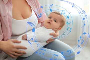 Flying music notes and young woman with her cute baby at home, closeup. Lullaby songs