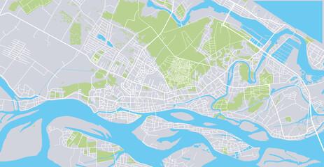 Urban vector city map of Hoi An, Vietnam Wall mural