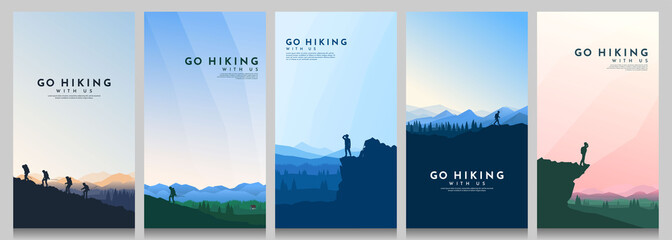 Vector illustration. Travel concept of discovering, exploring and observing nature. Hiking. Climbing. Adventure tourism. Flat design for flyer, voucher, poster, invitation, gift card.