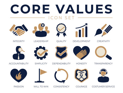 Company Core Values Icon Set. Integrity, Leadership, Quality Development, Creativity, Accountability, Dependability, Passion, Service Icons.