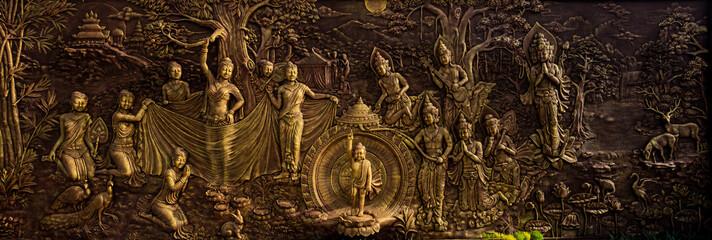 buddha ornament on the wall at vihara dharma shanti tanjung uban